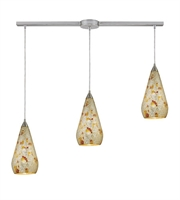 Picture for category Pendants 3 Light With Satin Nickel Finish Silver Multi-Colored Crackle Medium Base 36 inch 180 Watts - World of Lamp