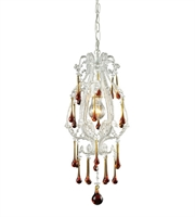 Picture for category Pendants 1 Light With Antique White Finish Amber Crystal Medium Base 8 inch 100 Watts - World of Lamp