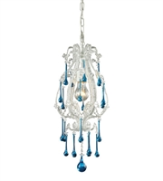 Picture for category Pendants 1 Light With Antique White Finish Aqua Crystal Medium Base 8 inch 100 Watts - World of Lamp