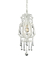 Picture for category Pendants 1 Light With Antique White Finish Clear Crystal Medium Base 8 inch 100 Watts - World of Lamp