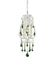 Picture for category Pendants 1 Light With Antique White Finish Lime Crystal Medium Base 8 inch 100 Watts - World of Lamp