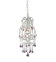 Picture for category Pendants 1 Light With Antique White Finish Rose Crystal Medium Base 8 inch 100 Watts - World of Lamp