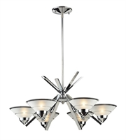 Picture for category Chandeliers 6 Light With Polished Chrome Finish Etched Clear Glass G9 26 inch 240 Watts - World of Lamp