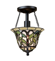 Picture for category Semi Flush 1 Light With Tiffany Bronze Finish Medium Base 8 inch 75 Watts - World of Lamp