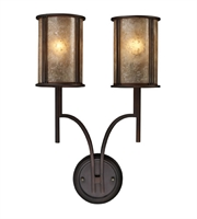 Picture for category Wall Sconces 2 Light With Aged Bronze Finish Tan Mica Medium Base 14 inch 120 Watts - World of Lamp