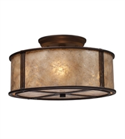 Picture for category Semi Flush 3 Light With Aged Bronze Finish Tan Mica Medium Base 13 inch 180 Watts - World of Lamp