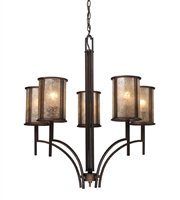 Picture for category Chandeliers 5 Light With Aged Bronze Finish Tan Mica Medium Base 29 inch 300 Watts - World of Lamp