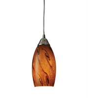 Picture for category Pendants 1 Light With Satin Nickel Finish Brown Glass Medium Base 5 inch 60 Watts - World of Lamp