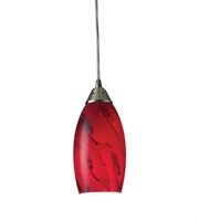 Picture for category Pendants 1 Light With Satin Nickel Finish Red Galaxy Glass Medium Base 5 inch 60 Watts - World of Lamp