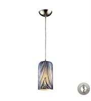 Picture for category Pendants 1 Light With Satin Nickel Molten Ocean Glass 5 inch 60 Watts - World of Lamp