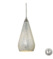 Picture for category Pendants 1 Light With Satin Nickel Silver Crackle Glass 6 inch 60 Watts - World of Lamp