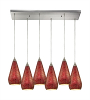 Picture for category Pendants 6 Light With Satin Nickel Finish Ruby Crackle Glass Medium Base 30 inch 600 Watts - World of Lamp
