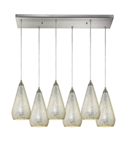 Picture for category Pendants 6 Light With Satin Nickel Finish Silver Crackle Glass Medium Base 30 inch 600 Watts - World of Lamp