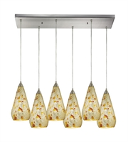 Picture for category Pendants 6 Light With Satin Nickel Finish Silver Multi-Colored Crackle Medium Base 30 inch 600 Watts - World of Lamp