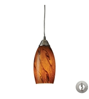 Picture for category Pendants 1 Light With Satin Nickel Finish Brown Glass 5 inch 60 Watts - World of Lamp