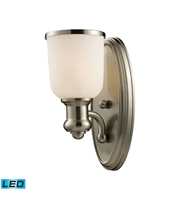 Picture for category Wall Sconces 1 Light LED With Satin Nickel Finish 5 inch 13.5 Watts - World of Lamp
