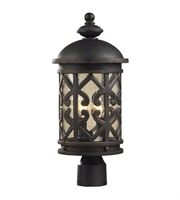 Picture for category Outdoor Post 2 Light With Weathered Charcoal Finish Clear Seeded Glass Candelabra 20 inch 120 Watts - World of Lamp
