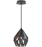 Picture for category Eglo Lighting 202034A Pendants Matte Black and Copper Iron Carlton III