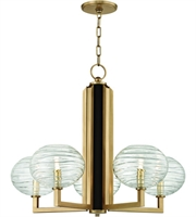 Picture for category Hudson Valley Lighting 2415-AGB Chandeliers Aged Brass Metal / Hand-blown Glass Breton