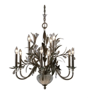 Picture for category Chandeliers 9 Light With Golden Bronze Finish Metal Poly Crystal Material 32 inch 540 Watts