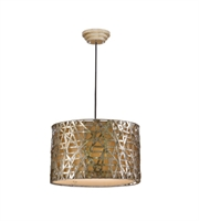 Picture for category Pendants 3 Light With Silver Leaf Finish Metal Fabric Material 22 inch 180 Watts