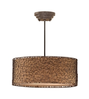 Picture for category Pendants 3 Light With Distressed Dark Brown Finish Metal and Fabric Material 22 inch 180 Watts