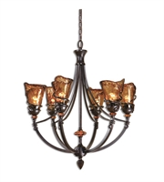 Picture for category Chandeliers 6 Light With Oil Rubbed Bronze Finish Metal Glass Resin Material 29 inch 600 Watts