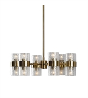 Picture for category Chandeliers 12 Light With Antique Brass Iron Glass Kalizma Home 26 inch 720 Watts