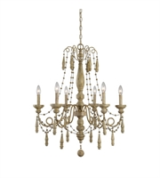 Picture for category Chandeliers 6 Light With Sea Salt Wood Finish Metal Kalizma Home 28 inch 360 Watts