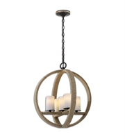 Picture for category Pendants 5 Light With Lightly Stained Rope Finish Metal Glass Rope Material 20 inch 300 Watts
