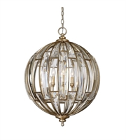 Picture for category Pendants 6 Light With Burnished Silver Champagne Leaf Metal Crystal Poly 22 inch 360 Watts