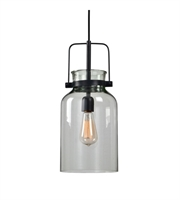 Picture for category Mini Pendants 1 Light With Textured Black Fixture Finish Iron Glass 8 inch 100 Watts