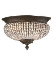 Picture for category Flush Mounts 2 Light With Golden Bronze Finish Metal Poly Crystal Material 15 inch 120 Watts