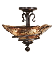 Picture for category Semi Flush Mounts 3 Light With Oil Rubbed Bronze Finish Metal Glass Resin Material 18 inch 180 Watts