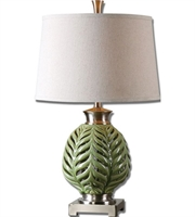 Picture for category Table Lamps 1 Light With Green Ceramic Metal Fabric Round Semi Drum Hardback 27 inch 150 Watts