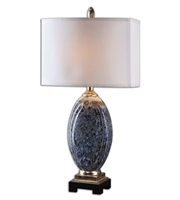 Picture for category Table Lamps 1 Light With Mottled Blue Finish Ceramic Resin Metal Fabric Material 31 inch 150 Watts