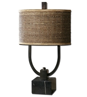 Picture for category Table Lamps 2 Light With Rustic Bronze Finish Marble Metal Cane Material 30 inch 120 Watts