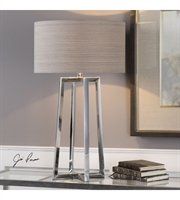 Picture for category Table Lamps 1 Light With Polished Stainless Steel Round Hardback Drum 32 inch 150 Watts