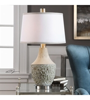 Picture for category Table Lamps 1 Light With Aged Sage Gray Cement Metal Fabric Round Tapered Hardback 29 inch 150 Watts