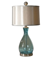 Picture for category Table Lamps 1 Light With Clear Blue Mouth Blown Glass Body Finish Metal Glass Material 29 inch 150 Watts
