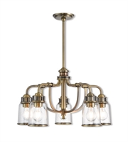 Picture for category Livex Lighting 40025-01 Chandeliers Antique Brass Steel Lawrenceille