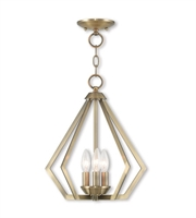Picture for category Mini Chandeliers 3 Light With Antique Brass Clear Candelabra Base 14 inches 120 Watts - World of Crystal