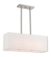 Picture for category Island 3 Light With Brushed Nickel Hand Crafted Off-White Fabric Outside & White Fabric Inside Hardback 28 inches 120 Watts - World of Crystal