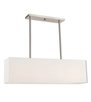 Picture for category Island 4 Light With Brushed Nickel Hand Crafted Off-White Fabric Outside & White Fabric Inside Hardback 36 inches 160 Watts - World of Crystal