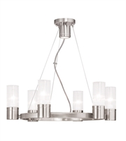 Picture for category World of Crystal Boston Chandeliers 18in Brushed Nickel 6-light