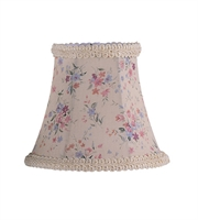Picture for category Lighting Shades With Cream Floral Print Bell Clip Shade with Fancy Trim 3 inch - World of Crystal