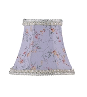 Picture for category Lighting Shades With Sky Blue Floral Print Bell Clip Shade with Fancy Trim 3 inch - World of Crystal