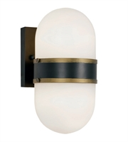 Picture for category Crystorama Lighting CAP-8502-MK-TG Wall Sconces Matte Black and Textured Gold Glass and Steel Capsule