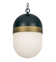 Picture for category Crystorama Lighting CAP-8506-MK-TG Outdoor Pendant Matte Black and Textured Gold Glass and Steel Capsule