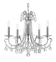 "Picture for category Chandeliers 5 Light Fixtures With Polished Chrome Finish Steel and Crystal Material Candelabra 21"" 300 Watts"